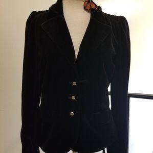 Silk Blend Velvet Blazer w Crystal Buttons